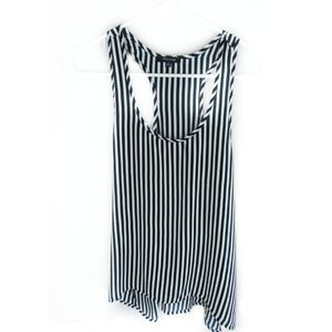 Vertical striped blue and white top high low hem